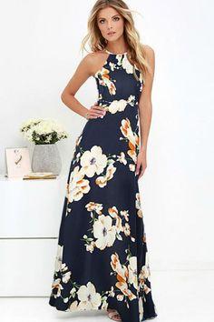 2e446b5c8e0 The Astara Floral maxi dress features a halter neck design