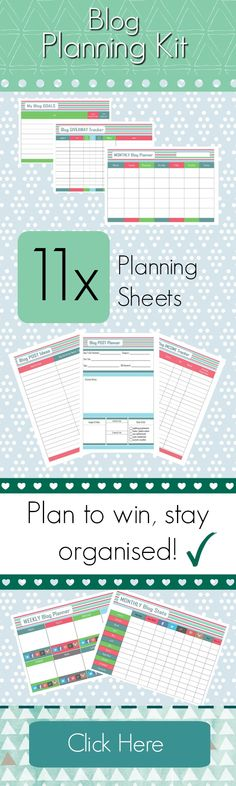 My Blog Planning Kit! 11 Printable Sheets to help you stay organised and focused with your Blogging. #printables   #BlogPlanningKit