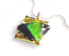 Dichroic Fused Glass Necklace - Green Black & Gold Dichroic Pendant  $22
