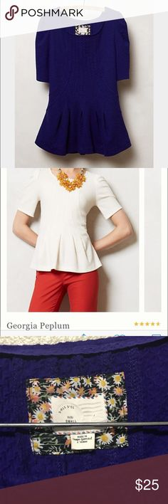 """Anthropologie peplum Top Size Small Brand- postmark  Excellent used condition  Georgia peplum Top in Blue-  Also listed in my closet is the white one- Anthropologie- size small- from top to bottom is 24"""" Bust- 19"""" straight across  Price firm Anthropologie Tops Blouses"""