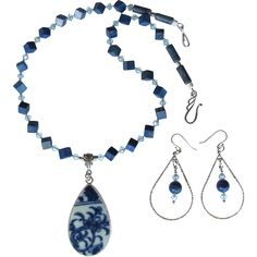 Blue and White Pottery Shard Pendant Necklace with Lapis – Swarovski Crystals – Sterling Silver – Earrings