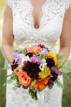 brightly colored bouquet #weddingchicks
