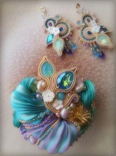 """""""SPRING GARDEN"""" Parure --- Design by Serena Di Mercione --- beadembroidery, soutache, shibori silk, swarovski, pearls"""