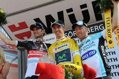 Final Suisse podium: Frank Schleck (RadioShack), Rui Costa (Movistar), Levi Leipheimer (Omega Pharma Quickstep). Looking good for La Grande Boucle