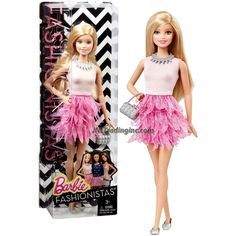 """Barbie Fashionistas 12"""" Doll - BARBIE (CFG13) in White and Pink Ruffle Dress Plus Purse and Necklace"""