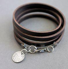 Leather Wrap Bracelet Sterling Silver by LynnToddDesigns