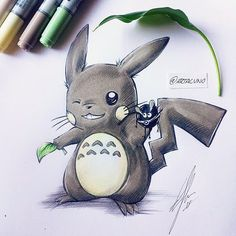 """6,014 Likes, 221 Comments - #1 PAGE ABOUT GAMING TATTOOS! (@gamer.ink) on Instagram: """"#Pichachu #Totoro mash-up by @artacuno."""""""