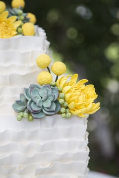 Succulent Ruffle Wedding Cake with Craspedia (billy balls) and Chrysanthemums by Cassidy Budge Cake Design