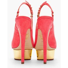 CHARLOTTE OLYMPIA Bright Pink Suede Peep Toe Bon Bon Slingbacks ($422) ❤ liked on Polyvore featuring shoes, pumps, heels, heel pump, ankle strap platform pumps, high heeled footwear, ankle strap shoes and high heel pumps