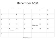 get printable december 2018 monthly calendar blank template notes excel sheets ms word doc with holidays in usa canada australia