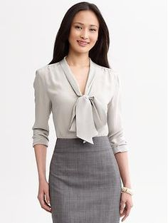 Silk bowtie blouse        regular      tall      petite    #421527  prices may vary  Color: Gray literature  $79.50