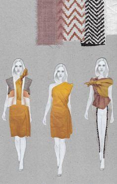 Fashion Sketchbook - fashion illustrations & woven fabric swatches; fashion portfolio // Amanda Svart