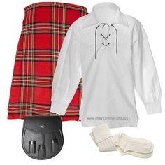 Scottish Highland Casual 8 Yards Kilt Outfit 5 Pcs Jacobite Shirt Sporran Hose #RoyalSwag #ScottishKilts