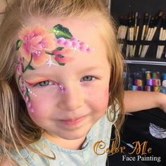 One stroke flowers pretty face paint design for girls