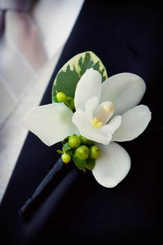 Green White Boutonniere Wedding Flowers Photos & Pictures - WeddingWire.com