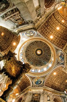 St Peters Basilica, Rome, Italy . Don't think I got a picture of ceiling when I was there. Such a big church.