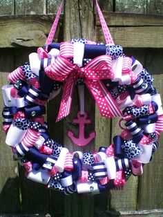 Navy and Pink Preppy Nautical Themed Ribbon Wreath for Birthday Party or Baby Shower