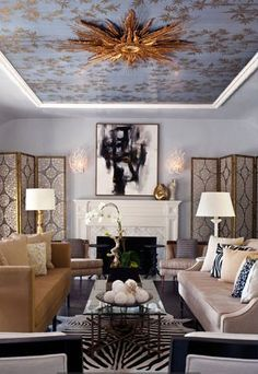 cream, black and gold living room