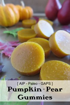 These pumpkin - pear gummies are adorable and simply delicious! Skip the honey for a sugar-free version and cut them up into fun shapes for the little ones! Paleo Sweets, Paleo Dessert, Paleo Autoimmune Protocol, Autoimmune Disease, Gelatin Recipes, Dieta Paleo, Real Food Recipes, Food Processor Recipes, Healthy Snacks