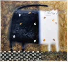 Govinder Nazran 1964-2008 'Myfanwy' oil on canvas, oversized black and white cat on chequered tile floor