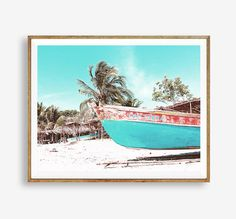 Boat print, Sea print, Beach art, Nature, Modern art, Wall decor, Digital art, Printable, Digital poster Instant Download 8x10, 11x14, 16x20