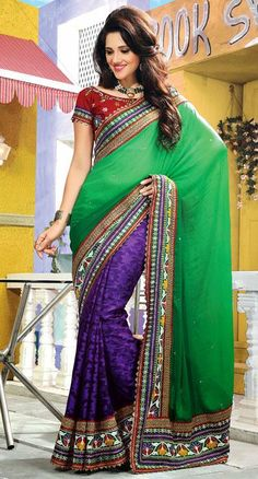 $100.21 Green and Blue Jacquard Embroidered Saree 25750