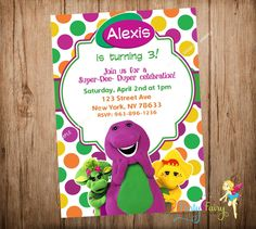 Barney Party Invitation Barney and Friends by CutePartyFairy Barney Birthday Party, Barney Party, 2nd Birthday, Barney & Friends, Party Invitations, Rsvp, Halloween Costumes, Digital, Handmade Gifts