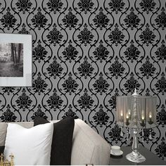 63.99$  Buy here - http://aliaib.worldwells.pw/go.php?t=1726563913 - Black Velvet Flock Wallpaper Luxury DAMASK Wall Paper Waterproof  for Bedroom Living Room Home Decor papel de parede 3D 63.99$