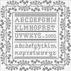 cross stitch alphabet with pretty frame Cross Stitch Sampler Patterns, Cross Stitch Freebies, Cross Stitch Borders, Cross Stitch Samplers, Cross Stitch Charts, Cross Stitch Designs, Cross Stitching, Cross Stitch Embroidery, Stitch Patterns