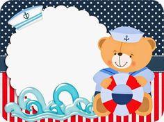 Molduras para Convite Forminhas para doces e bombons Bandeirola Adesivo redondo multiuso Rótulo Baton . Party Kit, Baby Shawer, Baby Kids, Sailor Party, Deco Buffet, Bear Theme, Bear Party, Nautical Party, Baby Boy Shower