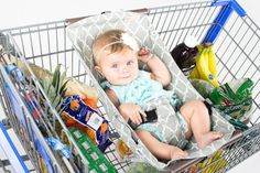 Shopping cart hammock. Want! So much better then the idea of lugging in the car seat and a toddler… Or lugging out groceries, toddler, and car seat. :(