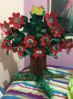 Arbol genealogico Family Tree For Kids, Family Tree Wall, Easy Paper Crafts, Diy And Crafts, Arts And Crafts, Christmas Tree Themes, School Projects, Preschool Activities, Kids Learning