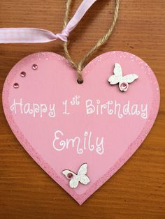 Personalised Wooden hanging heart 1st Birthday gift