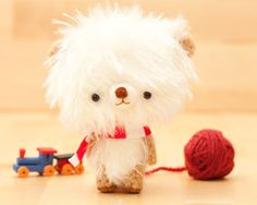 Toy bear plushie in white made to order Pumuki  by knittingdreams, $34.50