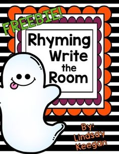 Your students will love this spook-tacular rhyming write the room freebie!  This activity is perfect for a seasonal center and/or reviewing rhyming words.  Students will walk around the room, read the words on the ghost cards and then draw and write a word that rhymes with the word shown.
