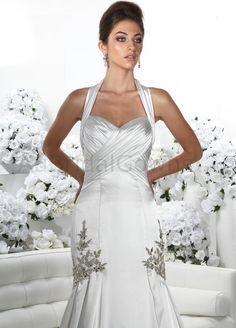 Charmeuse Halter Sweetheart Ruffled Bodice A-line Wedding Dress