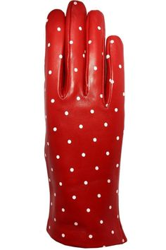 Solid Red Lamb skin Leather Gloves with White Polka dots,These gloves not only will keep your hands warm but they also look very stylish with your coat. Lining is 100% Polyester, available in size 7 only. SANTACANA. Glovers since 1896, they opened their first store in Madrid Calle Carretas, produce the best handmade leather gloves, in the same manner and with the same spirit more than one hundred years ago.   Leather Dots Gloves by Santacana Madrid. Accessories - Hats and Gloves Portland…