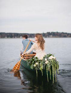 green wedding shoes | getaway ideas | boat getaway | vintage canoe | flower garland