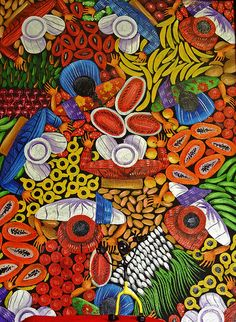 The Thin Man displays one of his favorite pieces of art from the village of Santiago Atitlan in Guatemala. It depicts a birdseye view of a typical Guatemalan market! Guatemalan Art, South American Art, Hispanic Heritage Month, American Illustration, Wall Drawing, Naive Art, Mexican Folk Art, Art For Kids, Cool Art