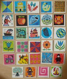 Vintage memory kaarten, 29 stuks, 5 x 5 cm, jaren '70, karton, spelonderdelen, hobbymateriaal   [D] by LabelsAndMore on Etsy