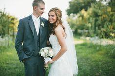 {Photo by Penny Frazier Photography}  #steelgrey #greytux #weddings #summerweddings #rustic #chic #ivory #groom #bride