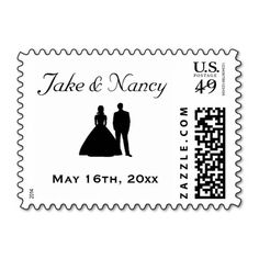 Personalized Bride and Groom Wedding Postage Stamp