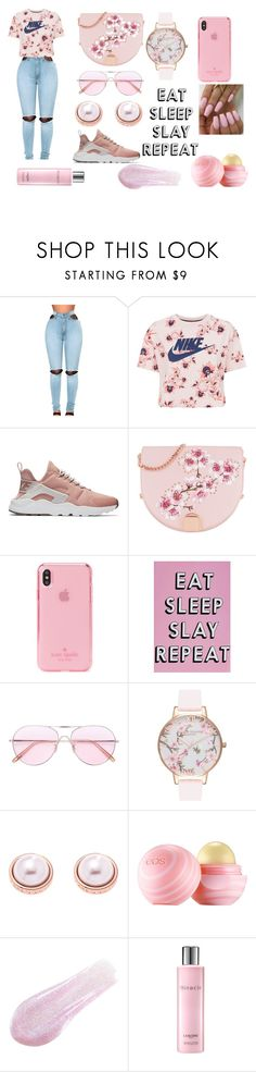 """My Type Of Outfit 3.0"" by beautifulney ❤ liked on Polyvore featuring WithChic, NIKE, Ted Baker, Kate Spade, Missguided, Oliver Peoples, Olivia Burton, Karen Millen, Eos and Lipstick Queen"