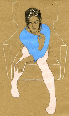 Kristen Stewart (artist unknown) sitting pose reference