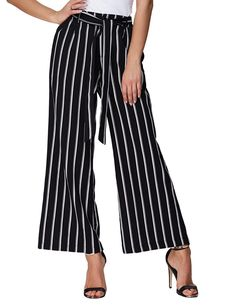 GRACE KARIN Women's Stripe Wide Leg High Waist Belted Palazzo Long Pants