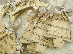 tree ornament out of old sheet music