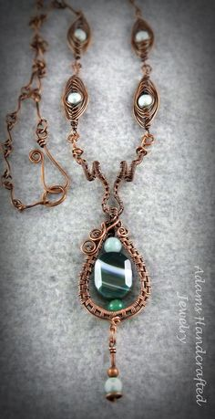 Adams Handcrafted Jewelry. Green Striped Agate Pendant Wire-Wrapped Handmade Chain Necklace with Matching Accent Pieces.