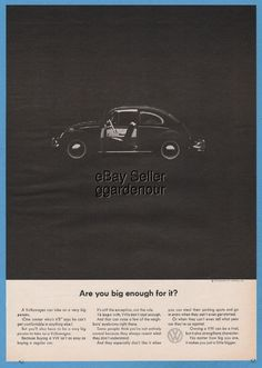 1964 VW Volkswagen Bug Beetle Are you big enough for it? 1960s magazine print Ad