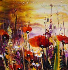 "http://www.largogallery.com/ Hikmet Cetinkaya, ""Poppies"", oil, canvas, 30/30"