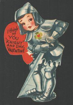 Vintage Childs Valentines Day Card Black Knight I Think of You Knight Day | eBay